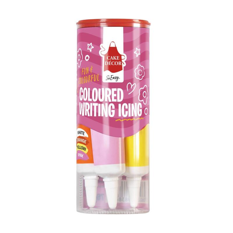 4 tubes de glaçage écriture blanc , orange , jaune et rose