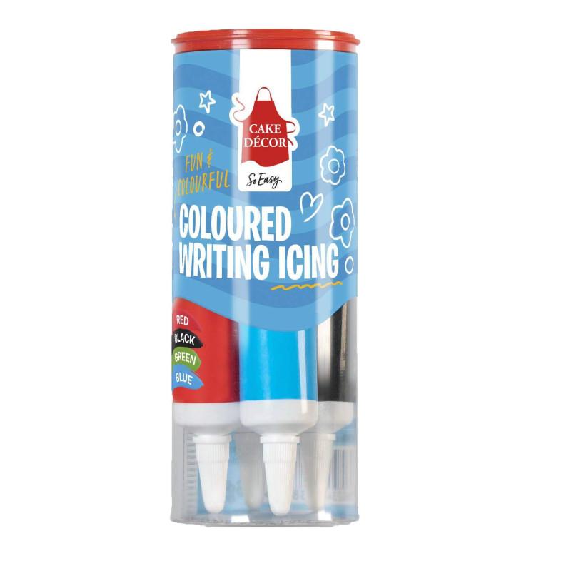4 tubes de glaçage écriture bleu , noir , rouge et vert
