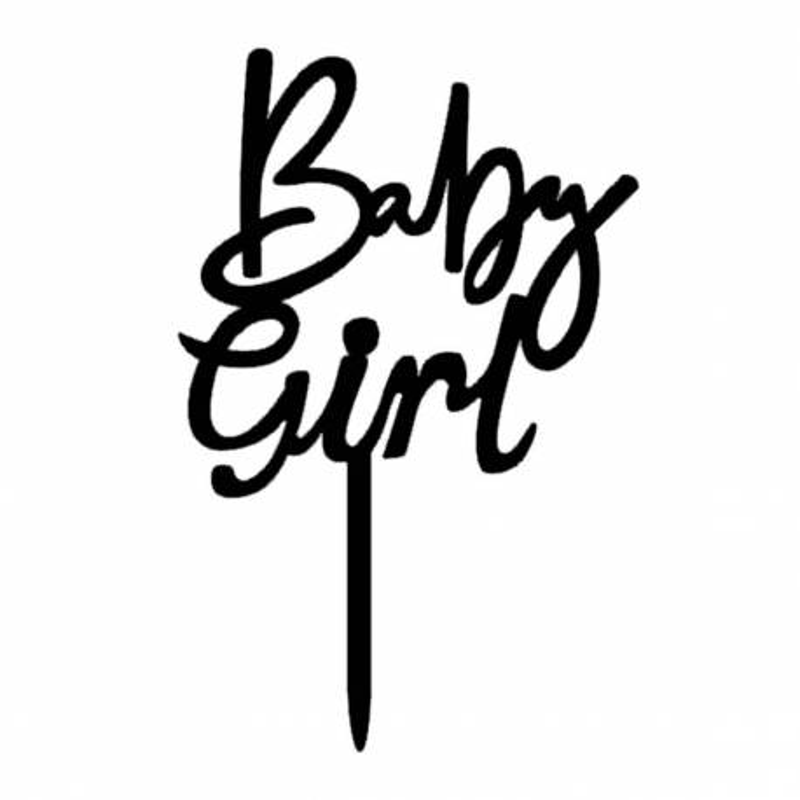 Topper gateau en acrylique noir BABY GIRL