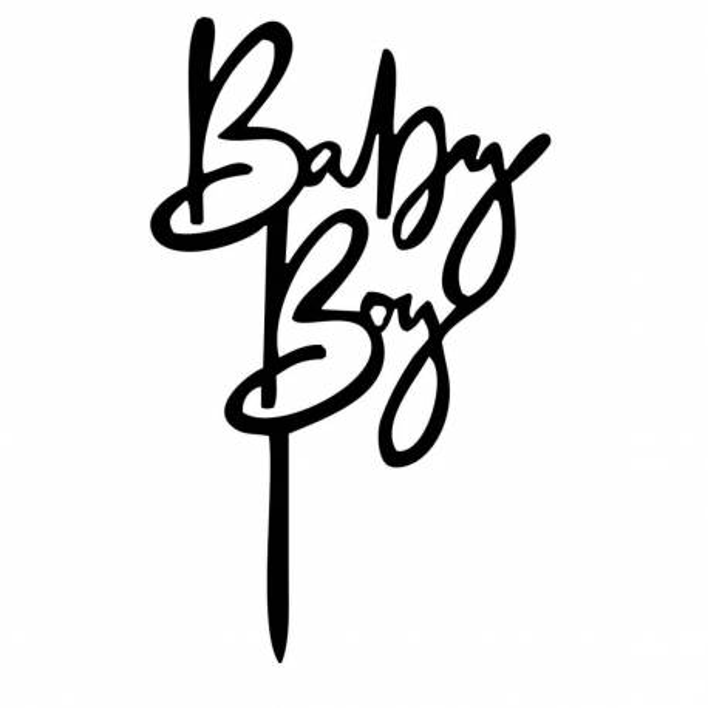 Topper acrylique noir pour gateau BABY BOY