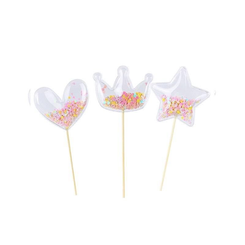 3 toppers coeur , étoile et couronne transparent à confettis