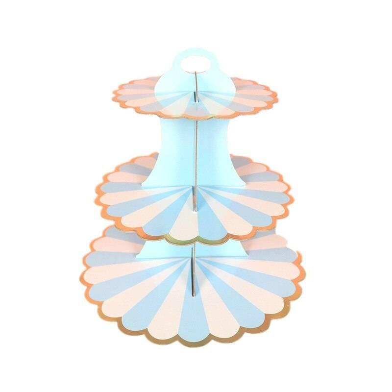 Stand à cupcakes bleu et blanc sur 3 niveaux