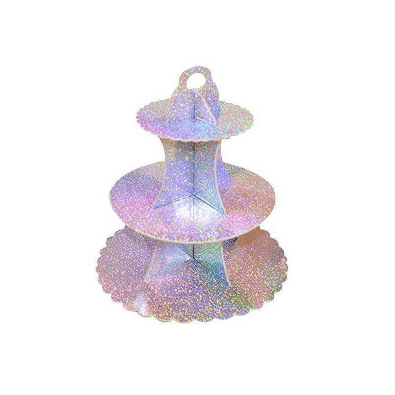 Stand à cupcakes argent hologramme sur 3 niveaux