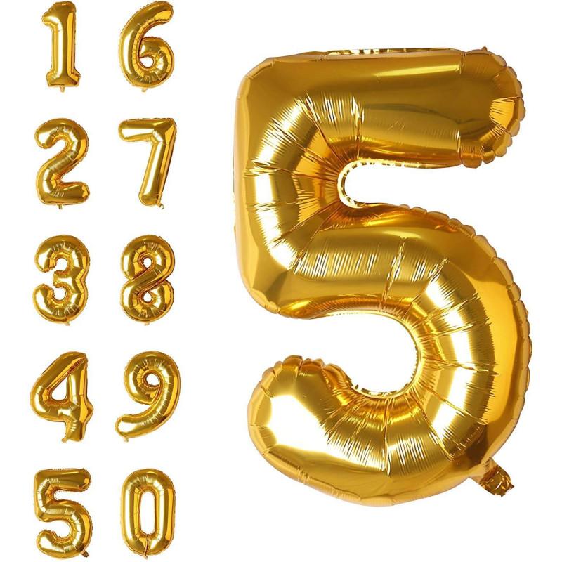 Ballon anniversaire chiffre or géant 81 cm