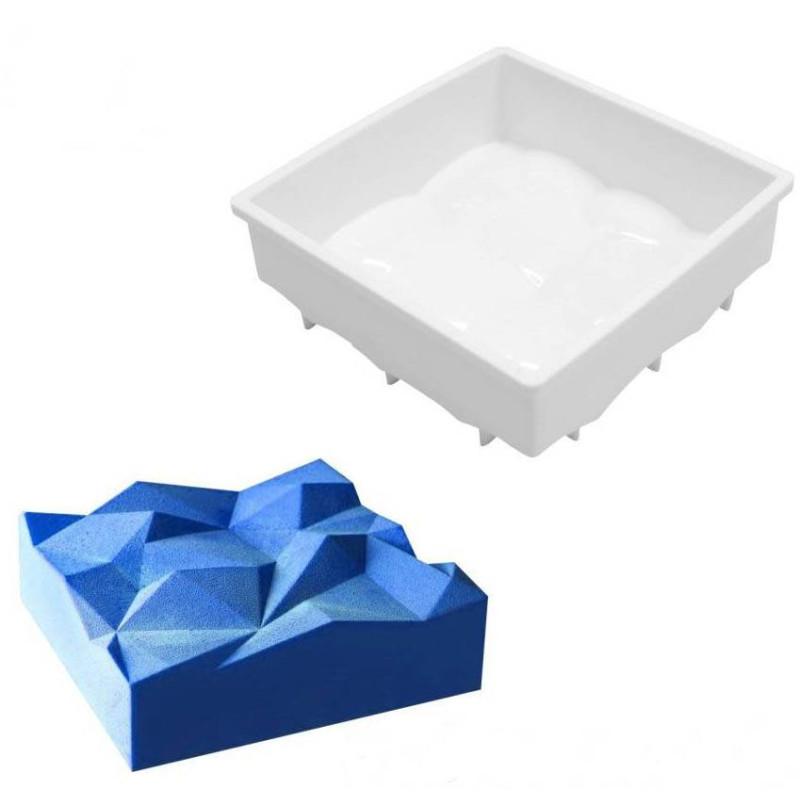 Silicone cake mold 3D square rock origami 14cm