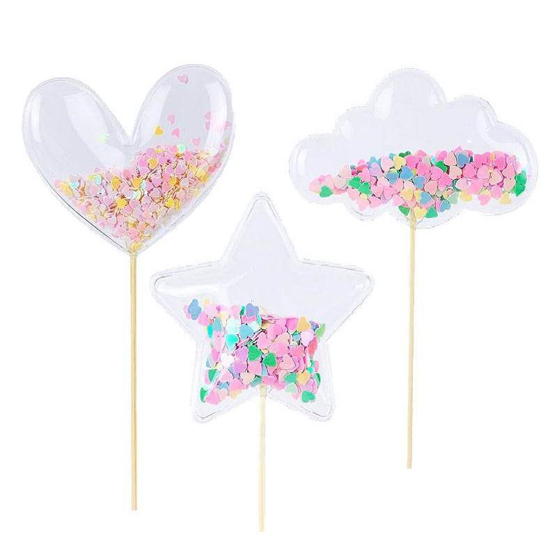 3 toppers coeur , étoile et nuage transparent à confettis
