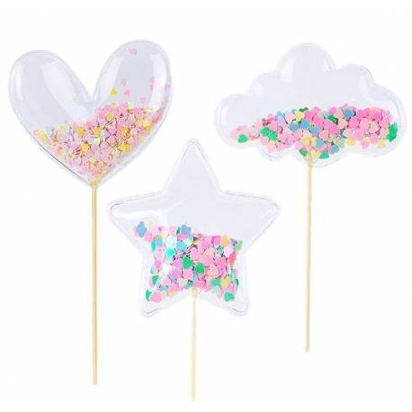 3 toppers heart, star and transparent confetti cloud