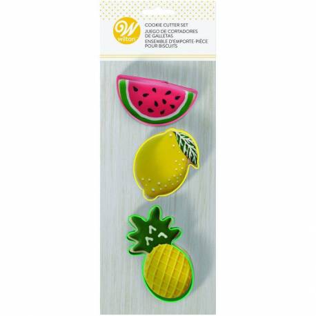 3 watermelon, lemon and pineapple cutters Wilton