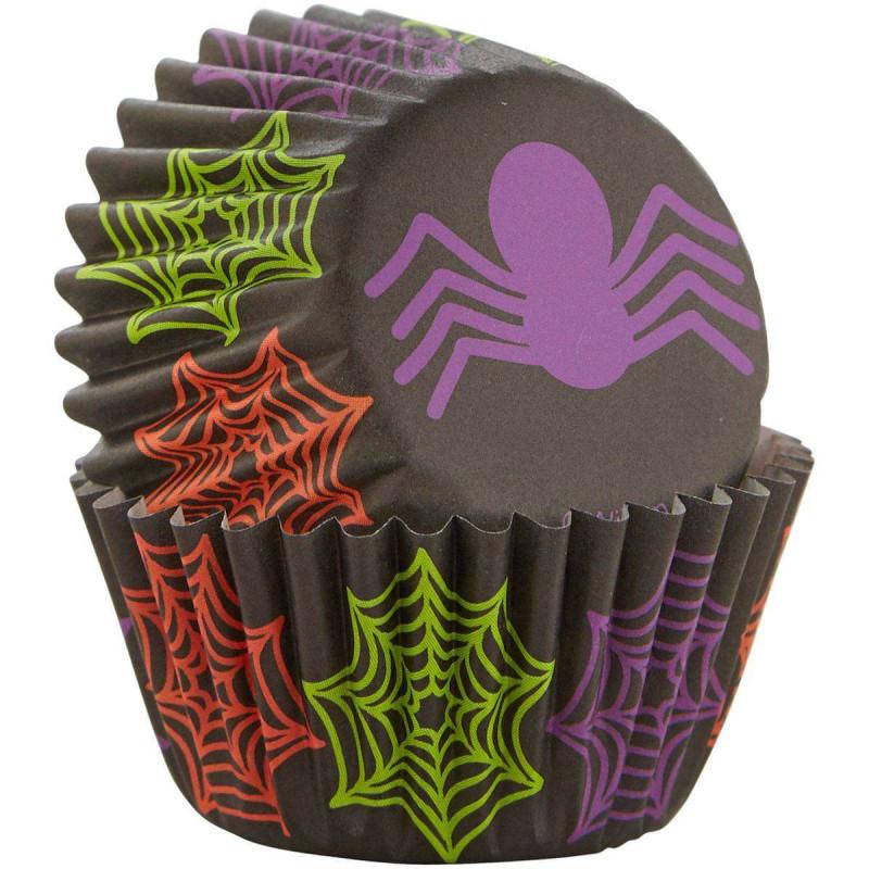 100 mini caissettes à cupcakes araignées Hallowen