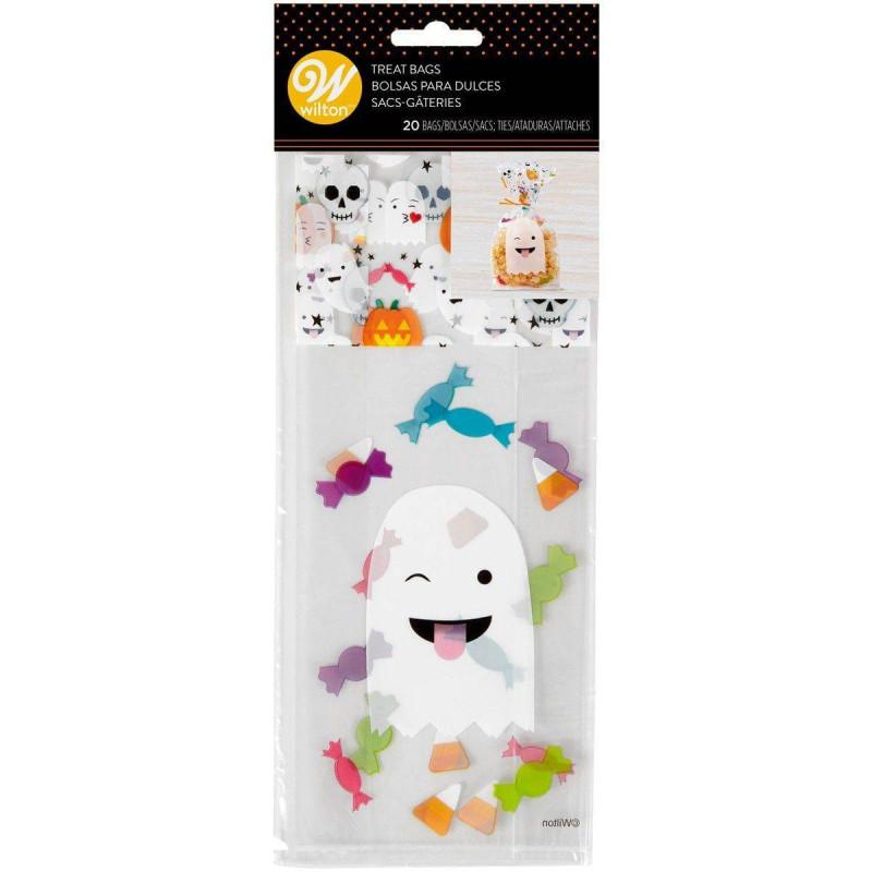 20 sacs à bonbons fantômes emoji Halloween