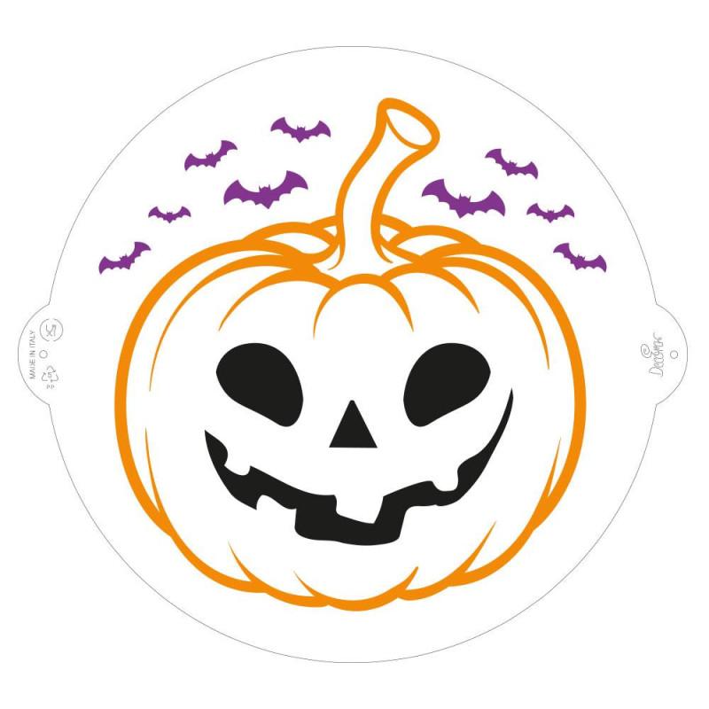 Pochoir Halloween citrouille et chauve souris 25 cm