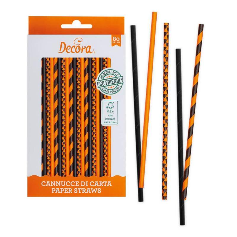 80 batons pailles en papier orange et noir