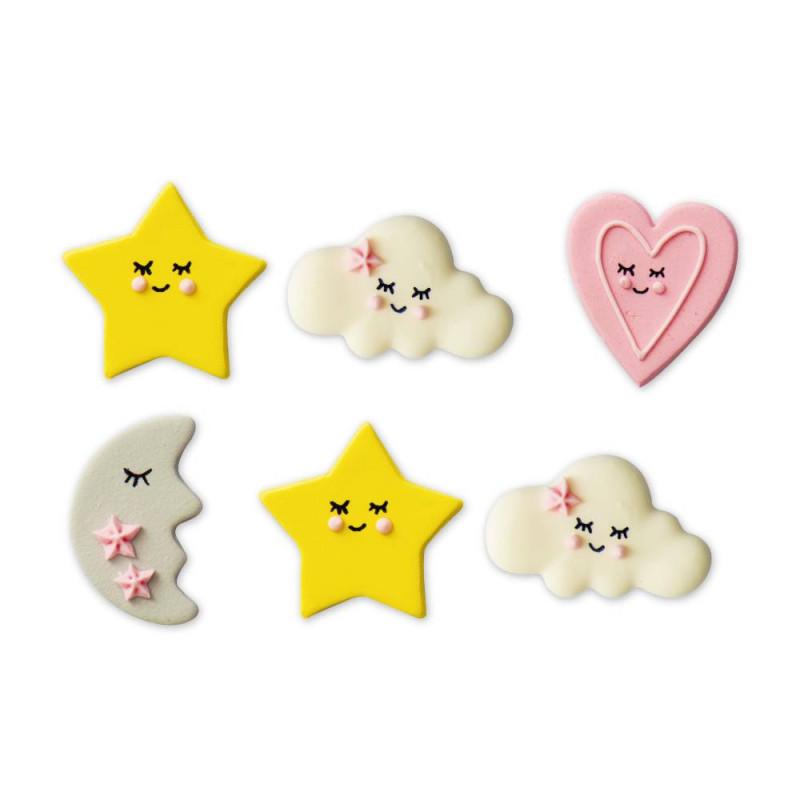 6 décorations en sucre baby girl