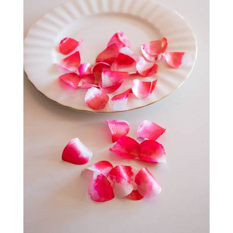 Cherry pink and white edible rose petals