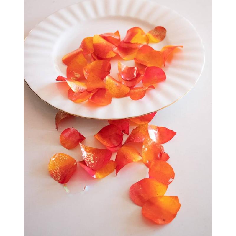 Pétalos de rosa comestibles de color amarillo y naranja