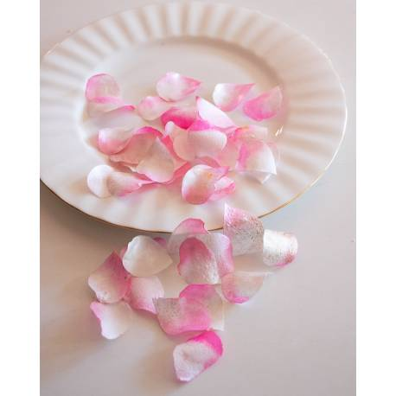 Pétales de rose comestibles rose et blanc