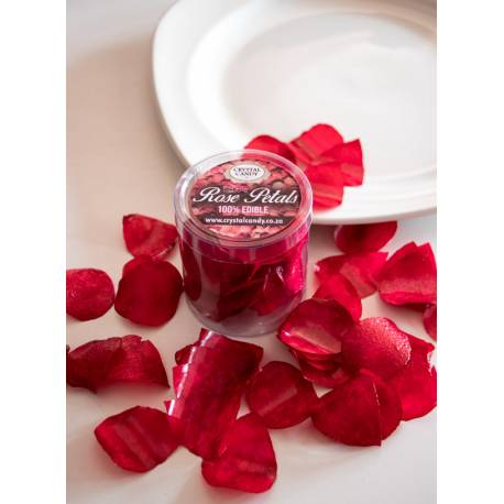 Red edible rose petals