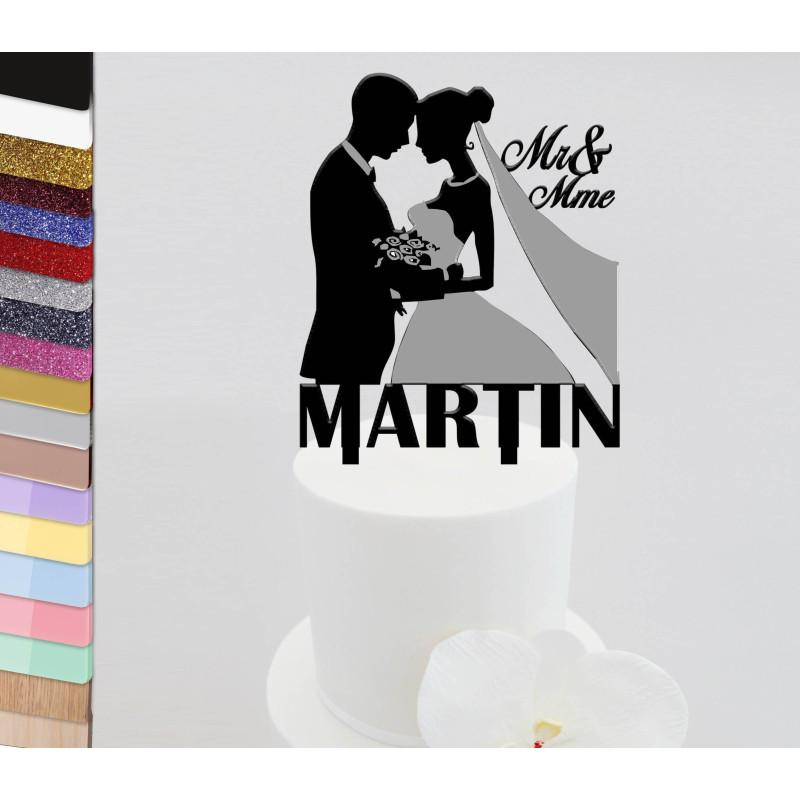 Topper gâteau personnalisé Mariage couple buste voile