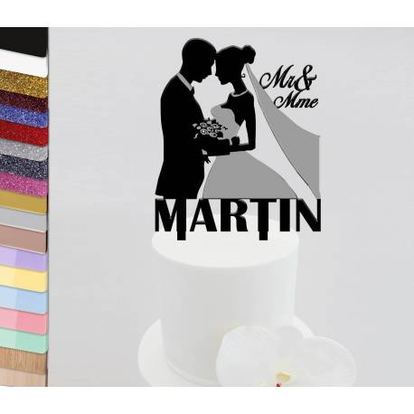 Topper personalized cake Wedding couple bust veil