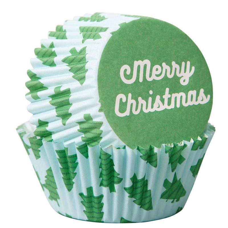 75 caissettes à cupcakes Merry Christmas Wilton