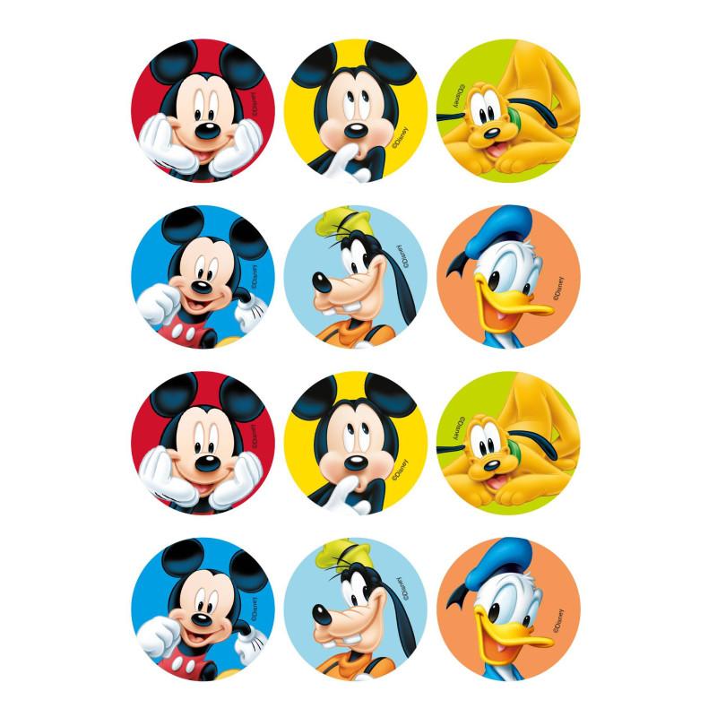 12 mini discos comestibles de Mickey y sus amigos
