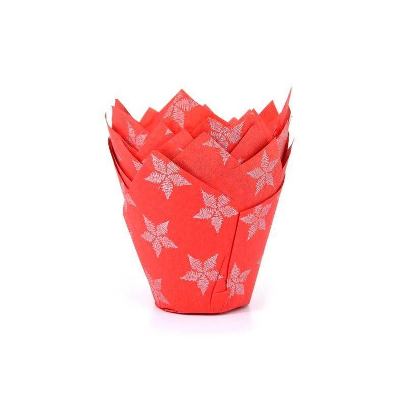 50 bandejas de tulipanes rojos y magdalenas de estrella