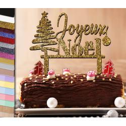 Cake topper Noël et son sapin contemporain
