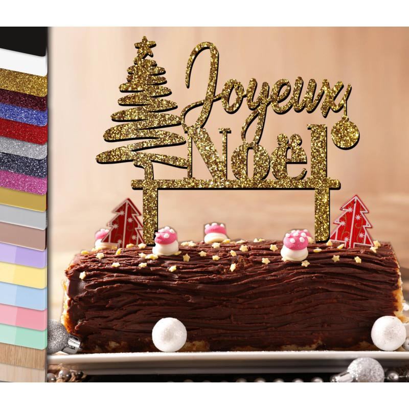 Topper gâteau personnalisé Joyeux Noël et sapin contemporain