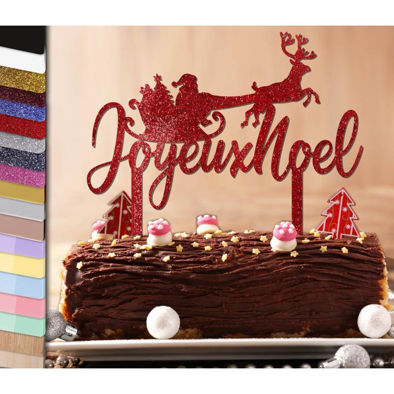 Topper gâteau personnalisé Traineau de rennes Noël