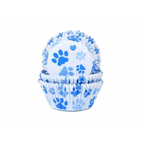 50 blue dog paw cupcake boxes