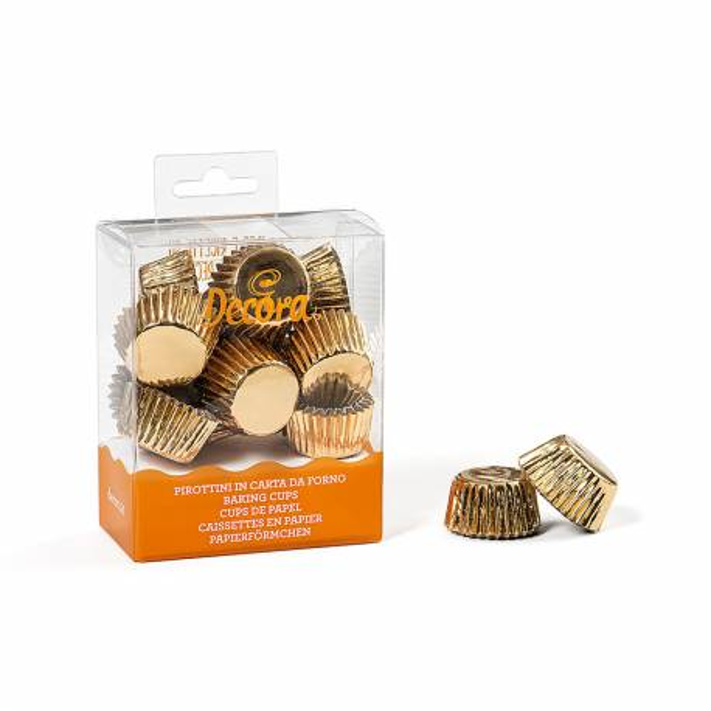 180 bandejas de mini magdalenas doradas