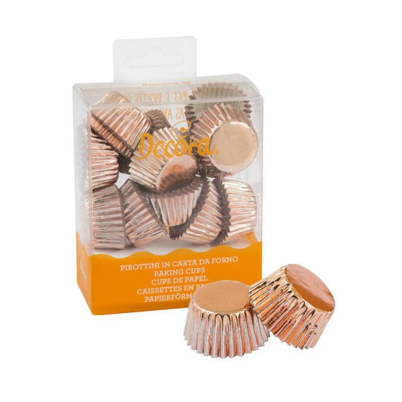 180 mini caissettes à cupcakes couleur or rose