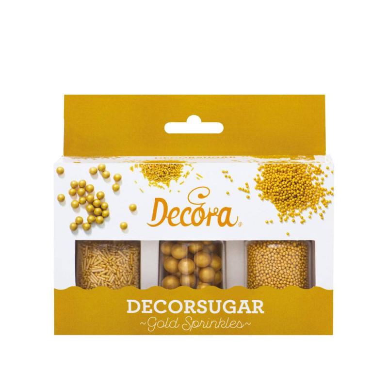 Kit décoration perles vermicelles et billes or