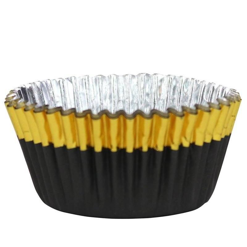 30 caissettes à cupcakes noir et or PME