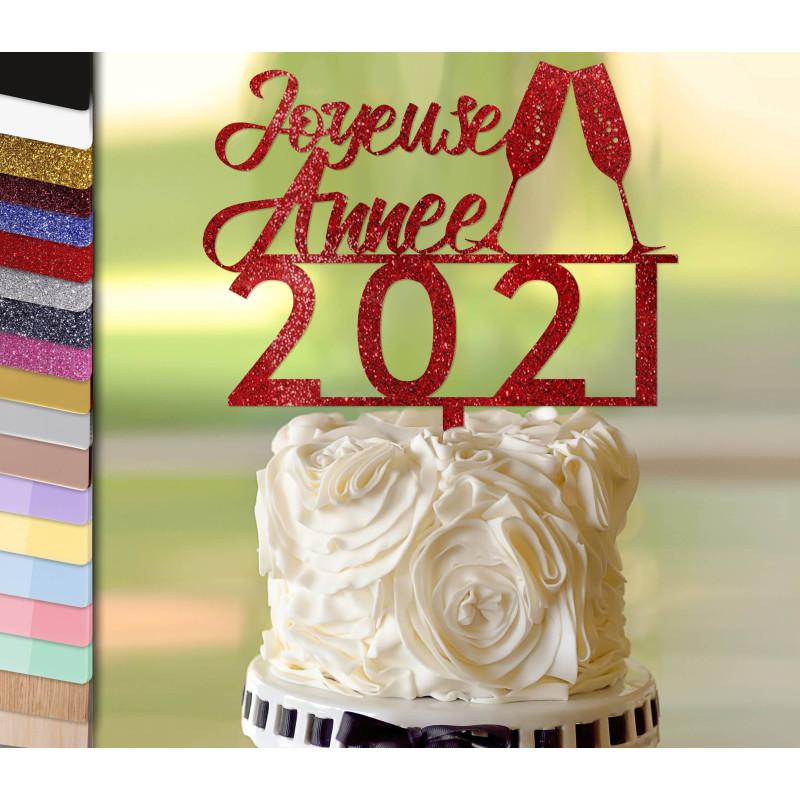 Topper pastel de Año Nuevo personalizado 2 copas de champán