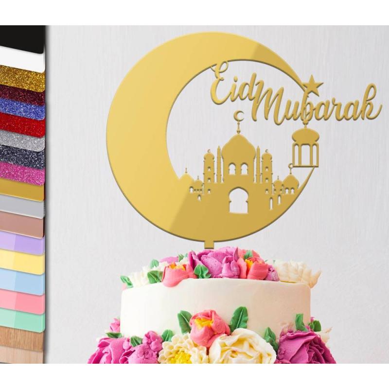 Topper gâteau personnalisé Fêtes Eid Mubarak Lune 1