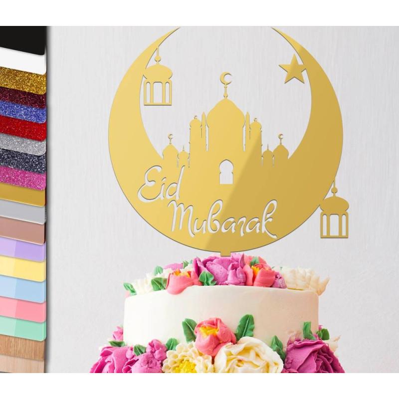Topper gâteau personnalisé Fêtes Eid Mubarak Lune 2