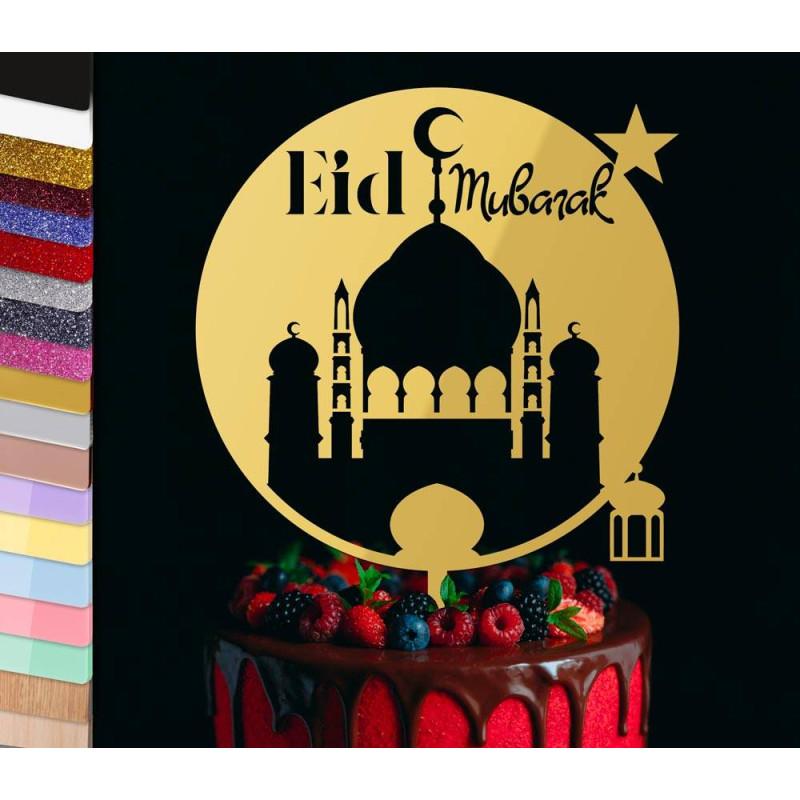 Topper pastel de vacaciones personalizado de la mezquita de Eid Mubarak