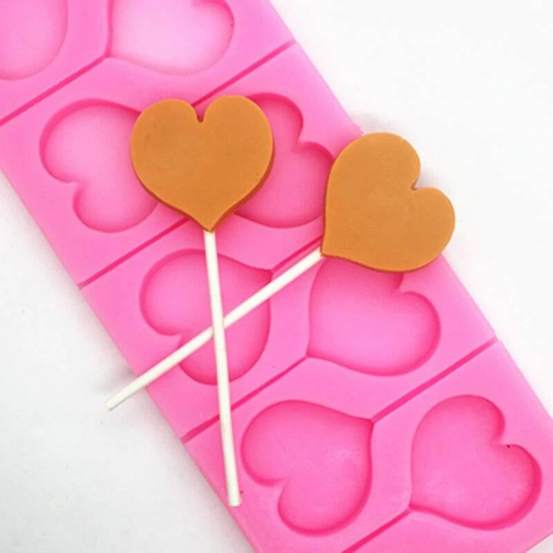 Molde de silicona para piruletas con forma de corazón