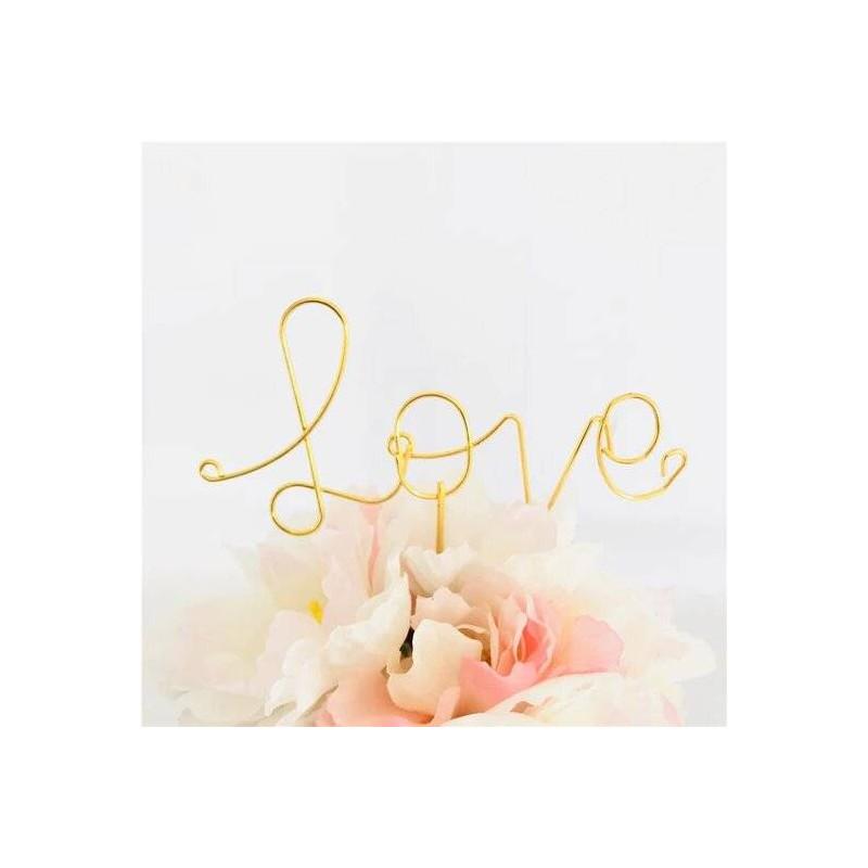 Topper love en fil de fer couleur or