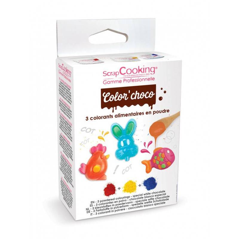 3 colorants liposolubles en poudre rouge, jaune, bleu