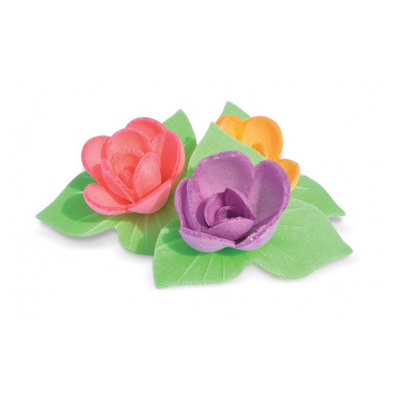 8 mini ramos de Rosas corola y hojas sin levadura