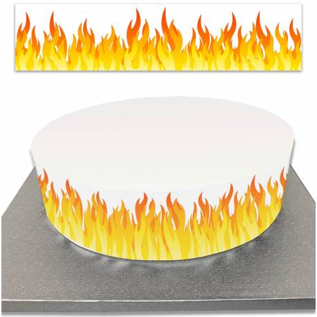 Sugar cake outline in flame decoration