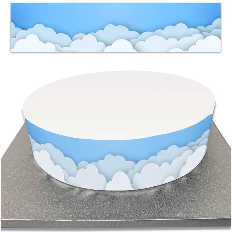 Sugar cake contour with blue sky and cloud
