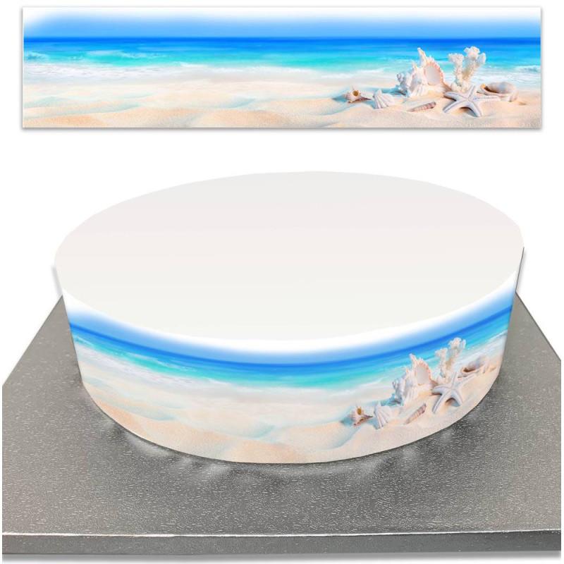 Sugar cake contour with sea and beach