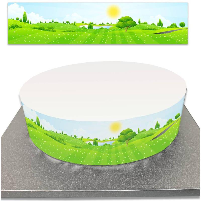 Contour de Gâteau colline verdoyante et prairie