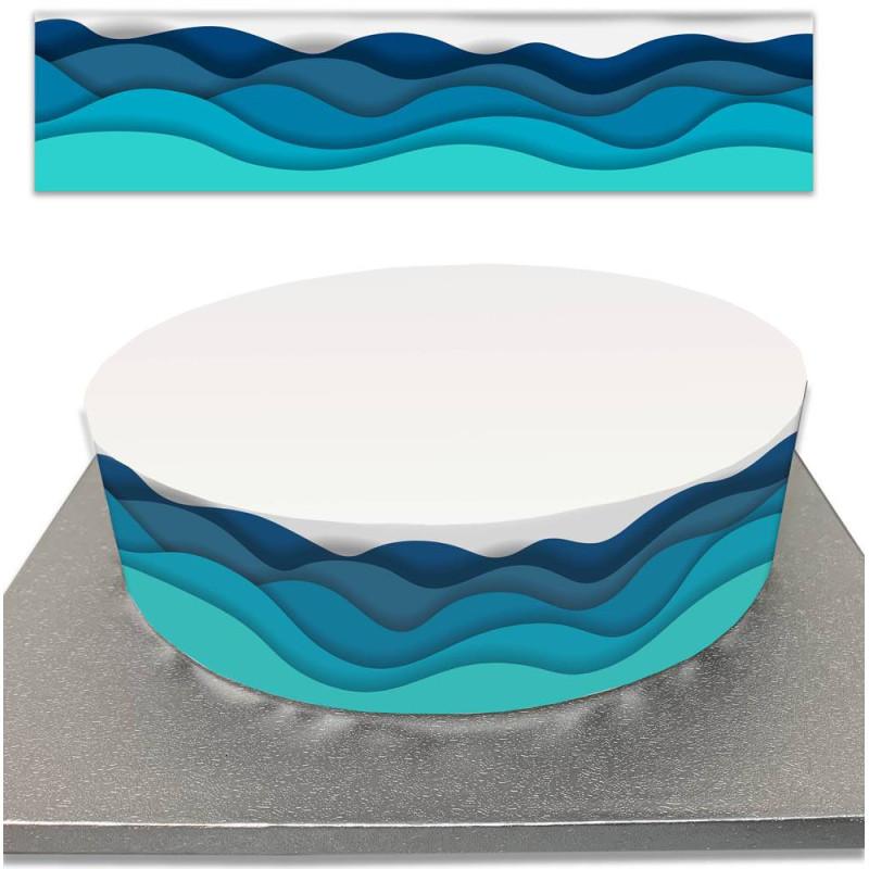 Contorno de pastel de azúcar para los niños mar y olas