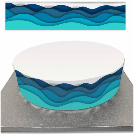 Sugar cake contour for children's cakes sea and waves