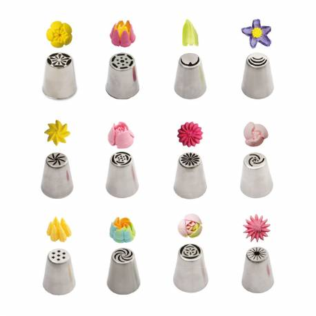 Set of 12 3D Flower Piping tips