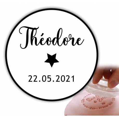 Personalized stamp 6cm - star with border